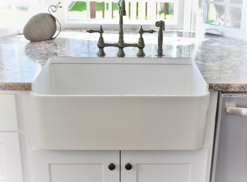 With Farmhouse Sink And Wainscoting. Farm Sink Stainless By Kraus ...
