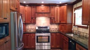 Kitchen remodel, new quarter-sawn oak cupboards, tile backsplash